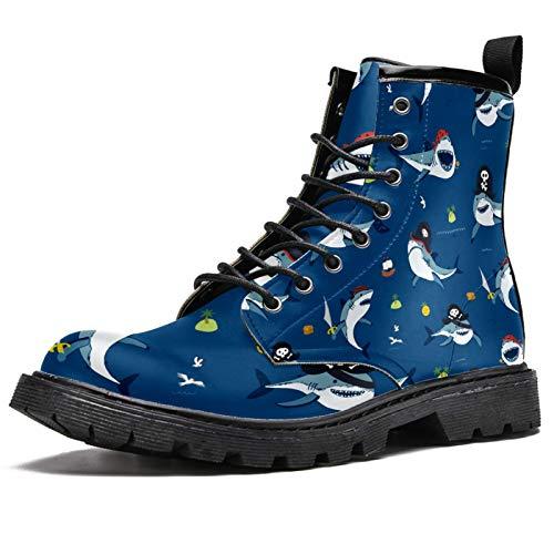 Lindas botas de invierno con estampado de tiburón pirata para mujeres y niñas, botas de nieve cálidas con cordones de tobillo para la escuela, color Multicolor, talla 41 EU