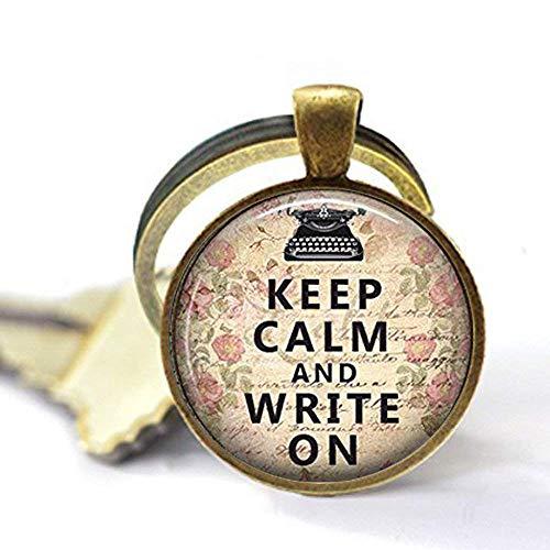 """Colgante de resina con texto en inglés""""Keep Calm and Write On Resin"""", llavero de escritor, regalo de escritor, colgante motivador, llavero con colgante inspirador"""