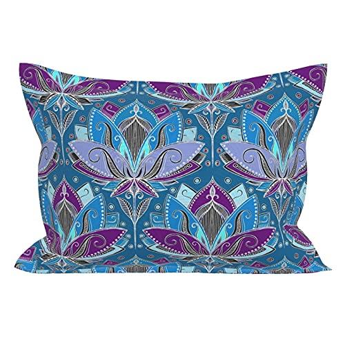 Fundas de almohada de microfibra, transpirables, ultra suaves, fundas de cojín, diseño de loto Art Deco en azul turquesa y morado profundo tamaño estándar (20 x 26 pulgadas) con cierre de sobre