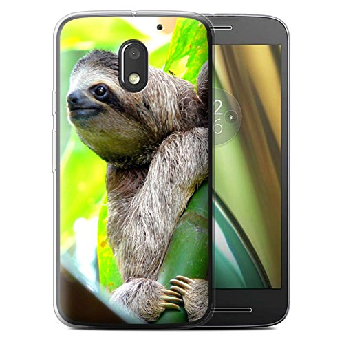 Custodia/Cover/Caso/Cassa Gel/TPU/Prottetiva STUFF4 stampata con il disegno Animali selvatici per Motorola Moto E3 2016 - Bradipo