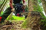 Scheppach Benzin Kettensäge CSP41 (2 PS, 40cm Schwertlänge, 37,5cm Schnittdurchmesser, automatische Kettenschmierung- und spannung, inkl. Handschutz und Systembremse)