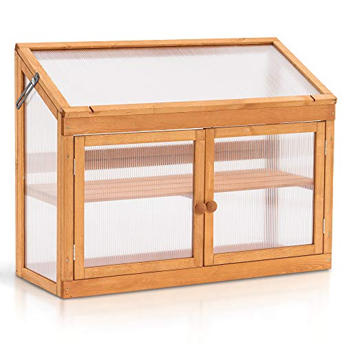 Mcombo 2-Tier Wooden Cold Frame Garden Greenhouse Raised Flower Planter Shelf Bed Protection 6057-0160