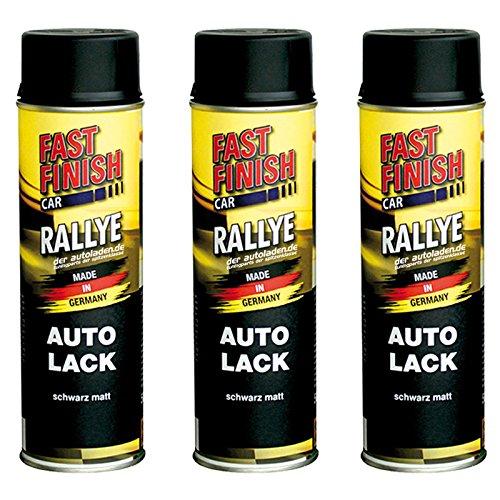 Motip Dupli - Fast Finish Autolack Rallye Spraydose 500ml schwarz matt 3 Stück