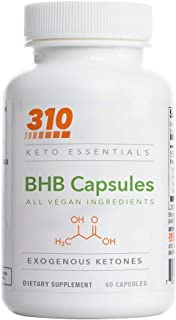 Keto BHB Capsules by 310 Nutrition - (60 CT) Exogenous Ketones - Keto Pills- Support for Metabolism - Mental Clarity and F...
