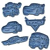 Cuticuter Cars Pack Tagliapasta per Biscotti, Blu, 16 x 14 x 1,5 cm, 6 Pezzi