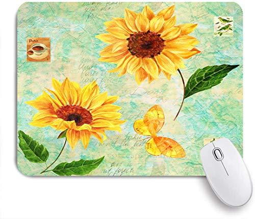 NOLOVVHA Gaming Mouse Pad Rutschfeste Gummibasis,goldgelbe Aquarell-Sonnenblumen und ein Schmetterling mit Briefmarkenvögeln, Blumen, Kaffee,für Computer Laptop Office Desk,240 x 200mm