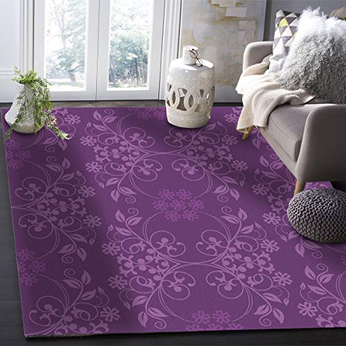 YOKOU Indoor Area Rugs Rectangle Floor Mat, Flower Pattern Purple Area Carpets with Anti-Skid Rubber Backing for Kids Room, Living Room, 5'x7'