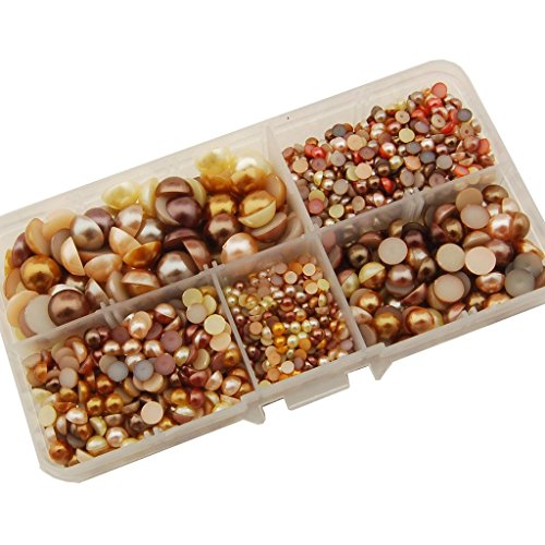 Summer-Ray 3mm to 10mm Yellow & Brown Flat Back Pearl Collection in Storage Box Set 1