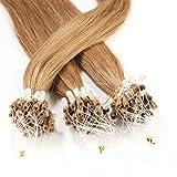 50 x 1g Extension cheveux à froid loops - 40cm, couleur #12 Blond Miel, lisse