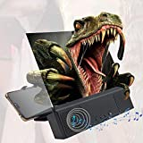 12'' Phone Screen Magnifier with Bluetooth Speaker, 3D Enlarge HD Mobile Phone Screen Amplifier with Foldable and Adjustable Stands for Movies, Videos, and Gaming on All Smartphones
