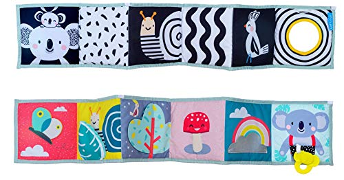 Taf Toys Koala Clip on Pram First Double Sided Book with Contrast Colors, 3D Activities & Textures, Best Tummy-Time Play for 2 Developmental Stages on-The-Go Baby