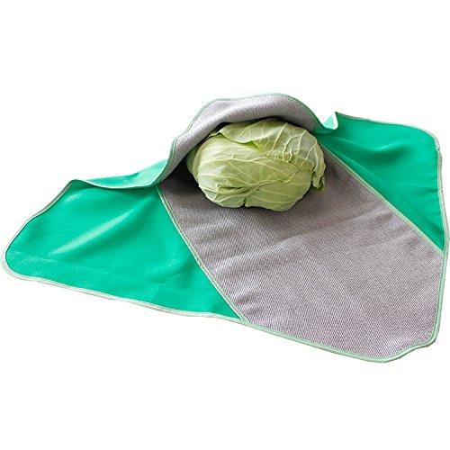 オカ PLYS ベジマジ つつむ(野菜ラップ) グリーン 約50cm×50cm (野菜収納 梅炭生地 抗菌)