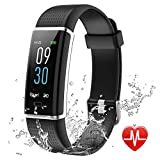 Lintelek Fitness Tracker, Color Screen Activity Tracker with Heart Rate Monitor, Sleep Monitor, 14 Sports Modes, IP68 Waterproof Pedometer, Step Counter for Kids, Women, Men (Business Black)
