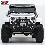 Razer Auto Black Textured Rock Crawler Front Bumper With Skid Plate, Fog Lights Hole & 2x D-Ring &...