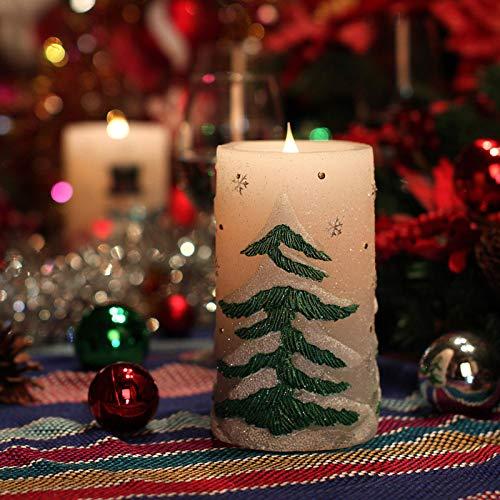 Cumberlanden Luces de parafina navideñas Lámpara de Papá Noel/árbol de Navidad con Luces LED, función de temporización de 4/8 Horas, para porches, repisas, Ventanas o mesas