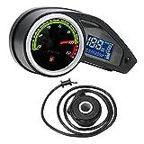 IPOTCH Moto Motocicleta velocímetro Digital tacómetro odómetro indicador de Combustible retroiluminación LCD Digital para RPS 250 fácil de Instalar - con Turbo Sensor