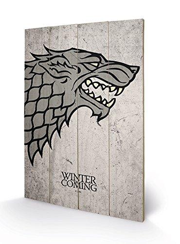 Pyramid International sw11384p Game of Thrones (Stark) Madera Pared de Arte, Madera, Multicolor, 40x 2,5x 59cm