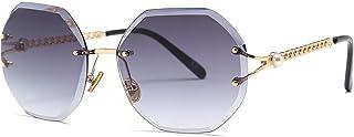 Irregular cut-edge sunglasses for women, pearl temples, men and women with sunglasses, sunglasses