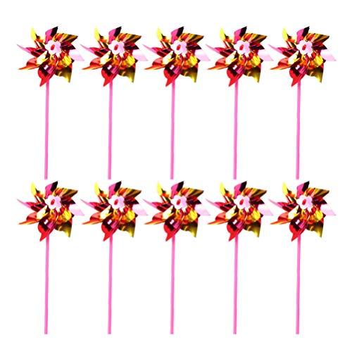 Tomaibaby 30 Stück Plastik Regenbogen Windrad Kinder Windmühle Spielzeug für Garten Party Rasen Dekor