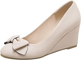 Women's Fashion Wedges Pump Single Shoes Bow Wroking Shoes Round Toe Lady Elegant Wedding Shoe