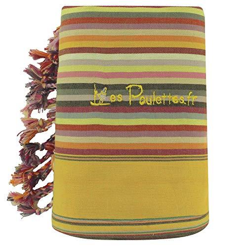 LES POULETTES Kikoy Toalla de Playa de Algodón con Rayas - Color Amarillo Verde