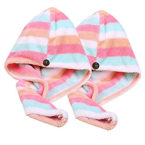 Microfiber Hair Towel Wrap 2 Pack, AuroTrends Quick Dry Hair Drying Towel Super Absorbent Hair Wrap...