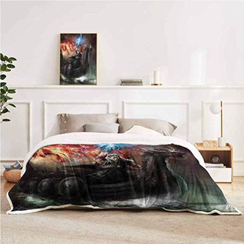 "YUAZHOQI Fantasy World Throw Blanket for Couch Bed Thunder Wrath in Viking Thorn Ship Floating in Fiery Waves Odin Narrative Throw for Girlfriend Best Friend 50"" x 60"" Grey Orange"