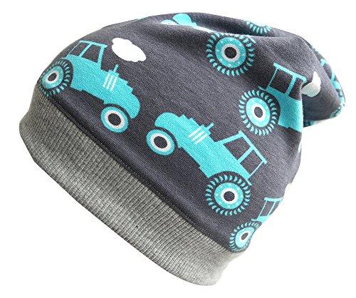 Wollhuhn ÖKO Leichte Beanie-Mütze Traktor grau/blau, für Jungen und Mädchen,...
