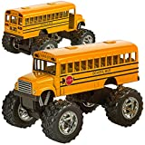 Die Cast Yellow School Bus - 2 Pack Set Monster Truck School Bus, Pull Back Car Toys, Play Vehicles and Gifts for Toddlers, Kids That Makes for Great Party Favors, Stocking Stuffers - by Bedwina