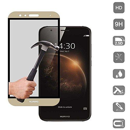 Todobarato24h Protector de Cristal Templado Dorado Compatible con Huawei GX8 3D Completo...