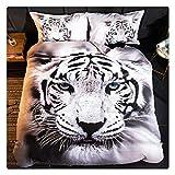 Homebed White Tiger Bedding Set Full Size 3D Animal Print for Kids Boys Teens Duvet Cover Set 3 Pieces