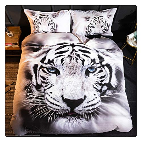 Homebed White Tiger Bedding Set Twin Size 3D Animal Print for Kids Boys Teens Duvet Cover Set 2 Pieces