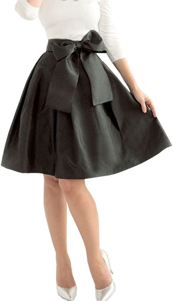 Lisong Women Knee Length Big Bowknot High Waisted Party Skirt