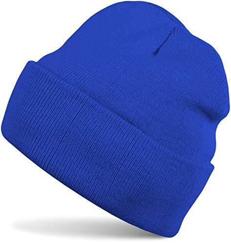 styleBREAKER Klassische Beanie Strickmütze für Kinder, Feinstrick Mütze doppelt gestrickt, Kindermütze 04024030, Farbe:Royalblau