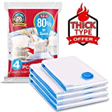 BoxLegend Premium Vacuum Storage Bags 4 Pack (3 Large, 1 Small) 80% More Space Saver Bags for Clothes, Blankets, Pillows