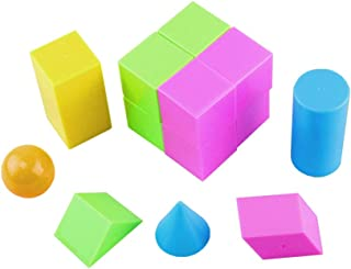 Mini Geometric Shapes mathematics educational toy, 14 pieces three dimensional image recognition, Large geosolids plastic ...