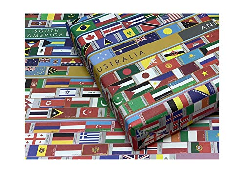 eVincE 20 World Flags Gift Wrapping Paper roll | Globe Country Flag | office gifts children adults kids return gifting wraps | large wrapper 50 x 70 cms | Birthday Christmas Hanukkah New Year