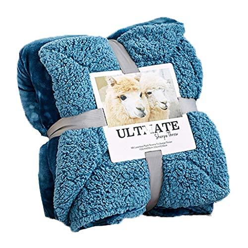 MTXD fleecedeken, flanel-fleece deken, super zacht, blauw, fluffy, warm, solide sprei, voor sofa, deken van microvezel, 12.13