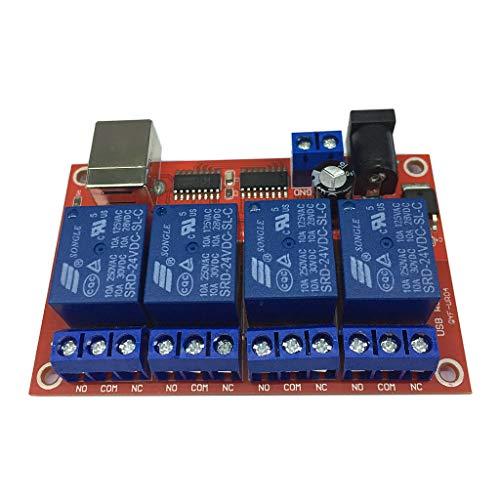 perfeclan Módulo de Relé USB de 4 Canales HID sin Unidad Relé USB para Control MCU - MCU 24 V