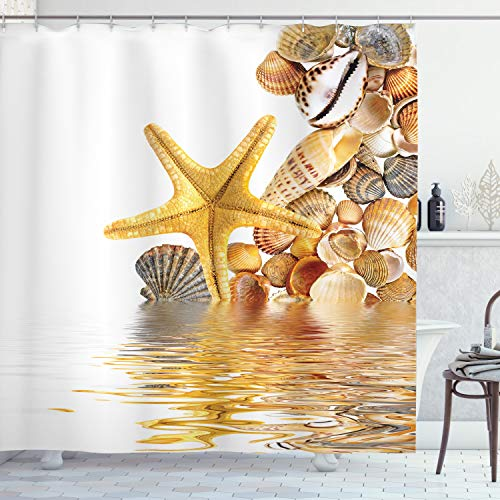 ABAKUHAUS Strand Duschvorhang, Muscheln & Seesterne, Wasser Blickdicht inkl.12 Ringe Langhaltig Bakterie & Schimmel Resistent, 175 x 200 cm, Braun Gelb