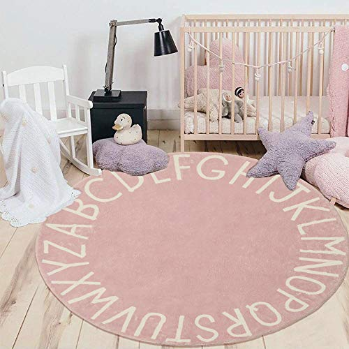 HEBE 4ft Round Kids Rug ABC Alphabet Baby Crawling Mat Soft Educational Non-Slip Nursery Rug Play Mat Circle Floor Carpet for Kids Room Teepee Tent,Pink