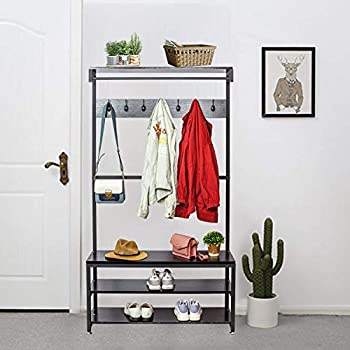 Gelinzon Industrial Modern Coat Rack with Shoe Bench Vintage Shoe Coat Rack Hall Tree Entryway ShelfWood Look Accent Furniture with Metal Frame 3 in 1 Design with 14 Hooks for Garments