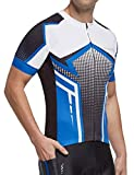 BALEAF Men's Cycling Jerseys Tops Biking Shirts Short Sleeve Bike Clothing Full Zipper Bicycle Jacket with Pockets UPF 50+ Blue L