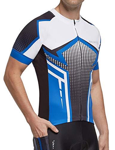 BALEAF Men's Cycling Jersey Mountain Biking Shirts Short Sleeve Tops Clothing Full Zip MTB 4 Pockets Breathable UPF 50+ Blue XL