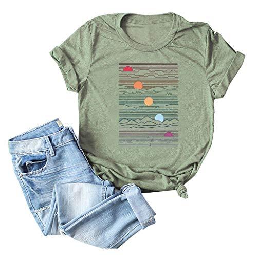 TEBAISE T-Shirts Damen 2020 Sommer Einzigartig Grafik Drucken Kurzarmshirt Frauen GroßE GrößEn Rundkragen Trendigen Gedruckt Kurzarm Tops Süß Rundhals Kurze Ärmel Oberteile Bluse Schwarz Weiß S-5XL