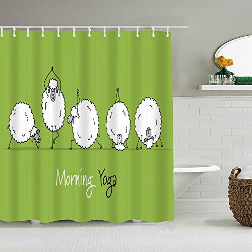 QINCO Duschvorhang,Lustige Schafe, die Yoga-Tiere Sport-Grün tun,personalisierte Deko Badezimmer Vorhang,mit Haken,180 * 210