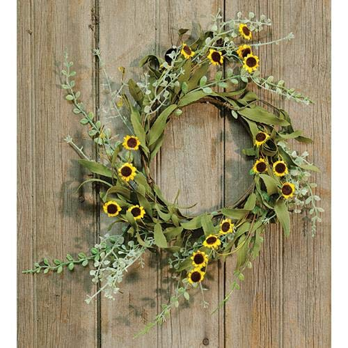 MIABE Floral Supplies for New Primitive Yellow Daisy Candle Ring Wreath Sunflower French Country Farmhouse for Home Decor, Holiday Decor