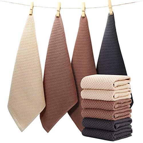 EliteBond Paño de cocina para lavar platos, ropa de algodón, tela de rizo de algodón, juego de 6 piezas, 33 x 33 cm