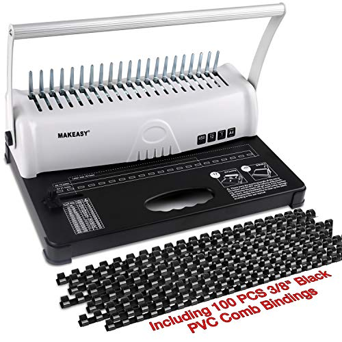 MAKEASY Binding Machine, 21-Hole, 450 Sheet, Paper Punch Binder with Starter Kit 100 PCS 3/8'' PVC Comb Bindings, Comb Binding Machine for A4 / A5
