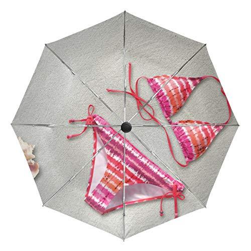MONTOJ Pinker Bikini am Strand bei Sonne und Regen, Reisen, UV-Schutz mit automatischer Öffnung